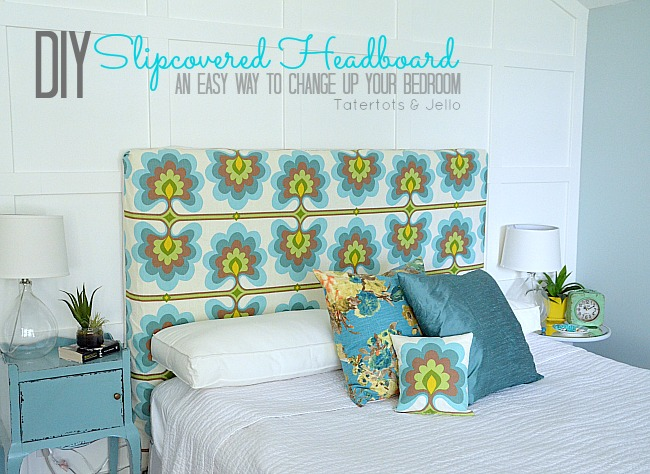 diy slipcovered headboard at tatertotsandjello