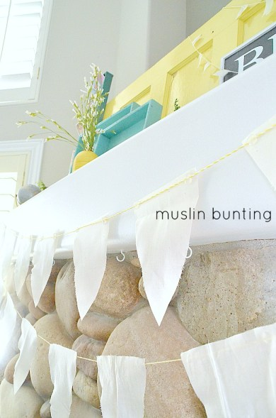 muslin and bakers twine bunting for beachy mantel