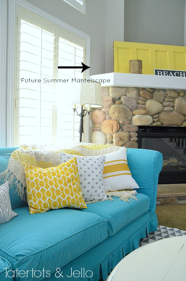 turquoise yellow and grey family room at tatertots and jello