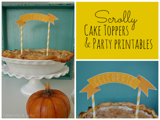 fall scrolly cake topper and party printables