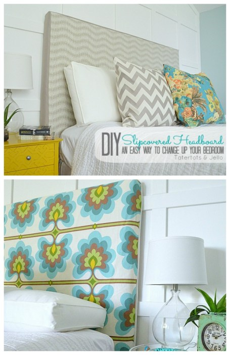 slipcovered headboard tutorial