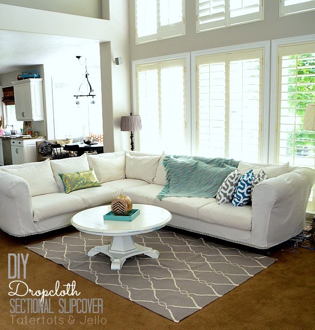 diy living room chair cover divider ikea make a dropcloth sofa sectional slipcover tatertots and jello cropcoth tutorial