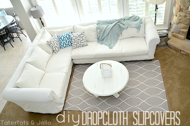 Make a Dropcloth Sofa Sectional Slipcover!