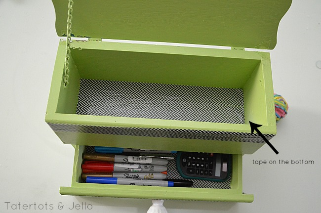 line drawers with washi tape