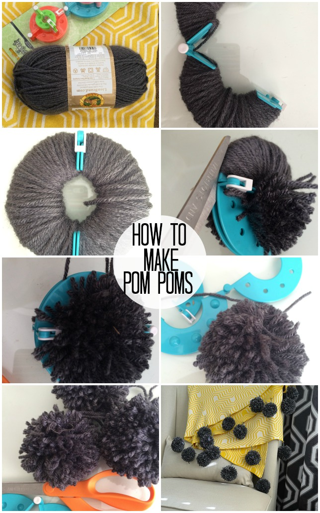 how to make yarn pom poms and a giant pom pom throw tatertots and jello. Black Bedroom Furniture Sets. Home Design Ideas
