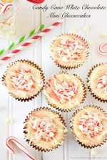 Happy Holidays: Candy Cane White Chocolate Mini Cheesecakes