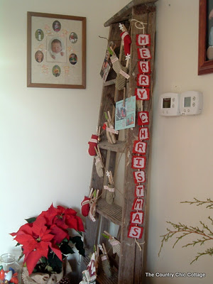 Ladder Christmas Card Display with Glitter Paint-6