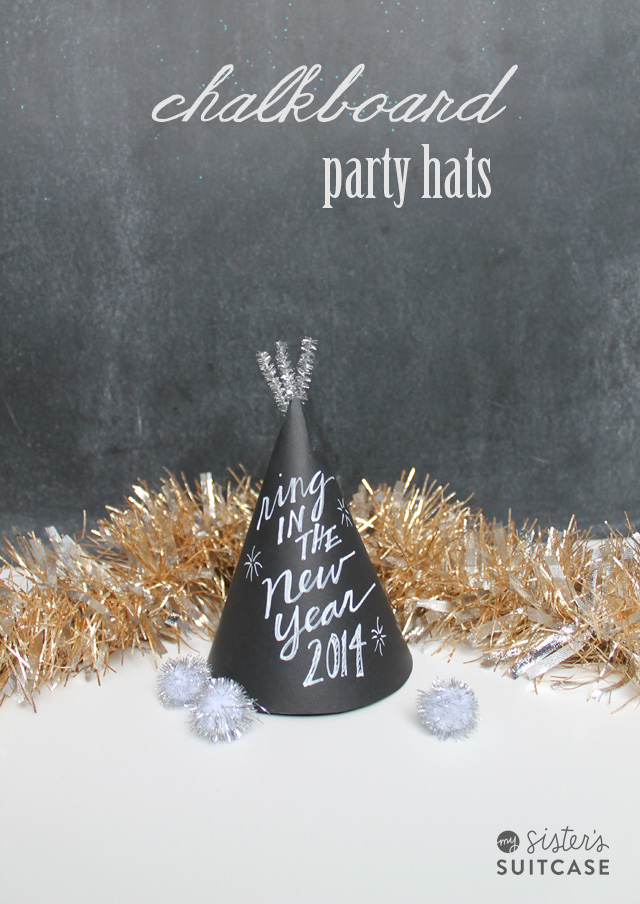 New Years Eve DIY Chalkboard Party Hats