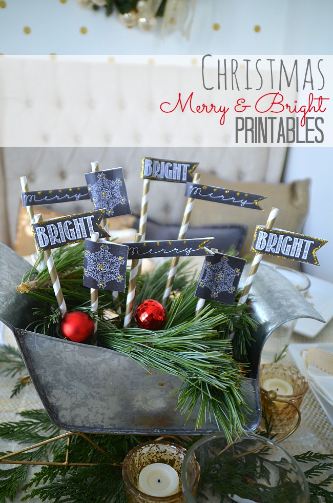 christmas merry and bright free printables
