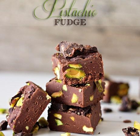 Happy Holidays: Dark Chocolate Pistachio Fudge