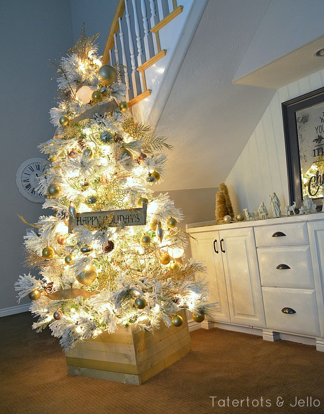 flocked gold and white tree