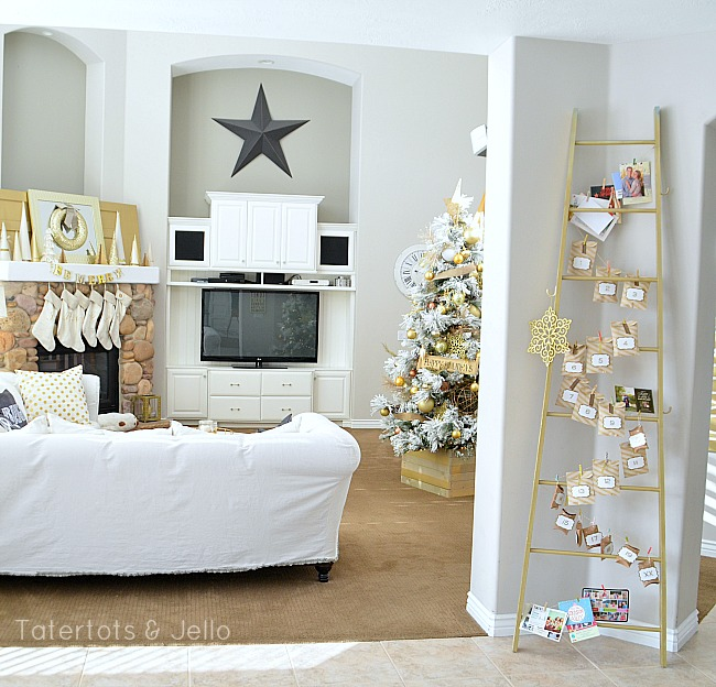 gold advent calendar and holiday decor