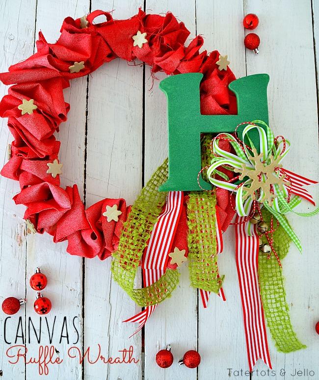 holiday canvas ruffle wreath at tatertots and Jello