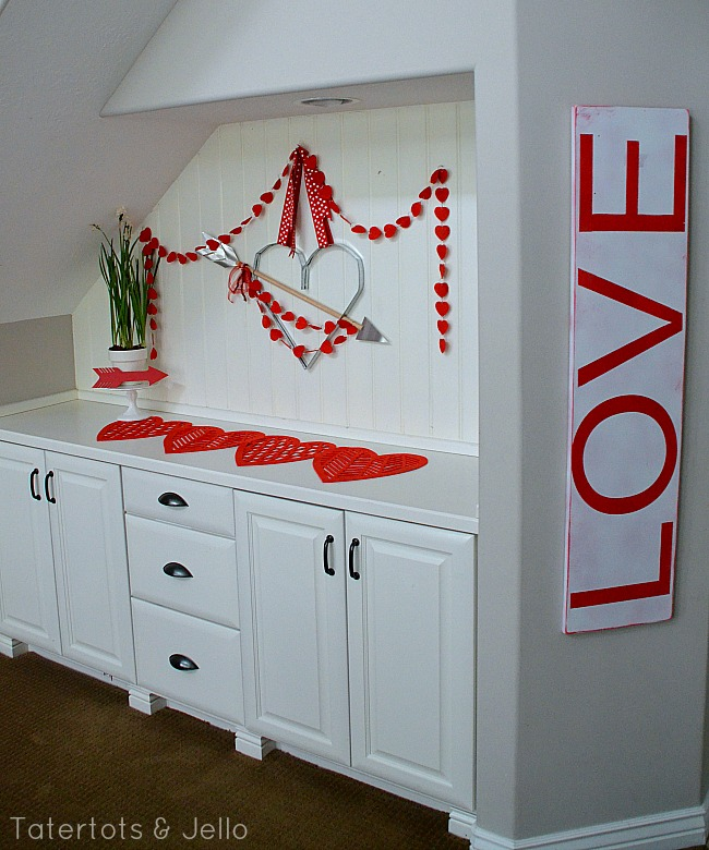 love sign and valentine's decor at tatertots and jello