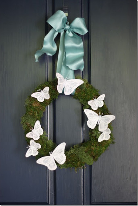 moss and butterfly wreath