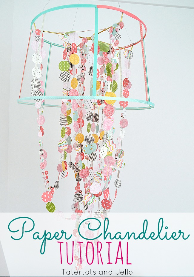 paper and ribbon chandelier tutorial at tatertots and jello