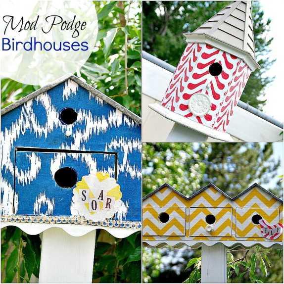 three-mod-podged-birdhouses