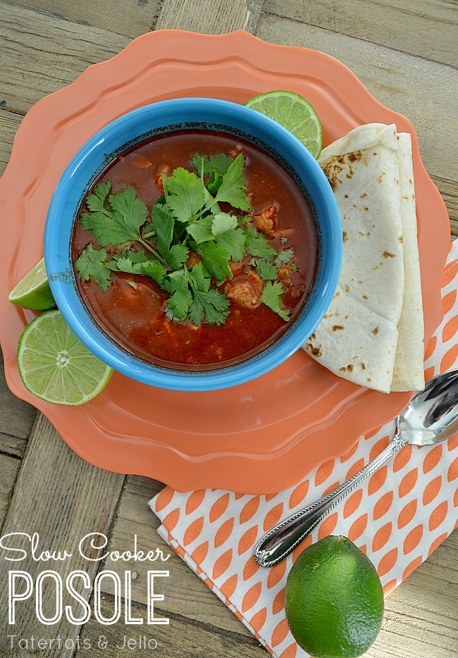 Slow Cooker Posole recipe at tatertots and jello