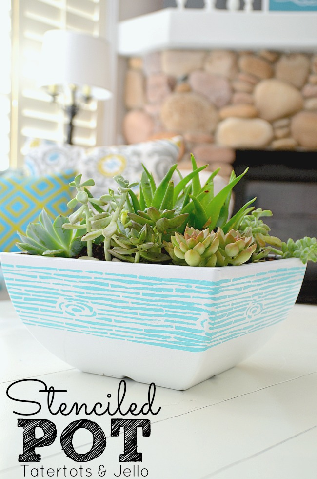 stenciled succulent pot at tatertots and jello