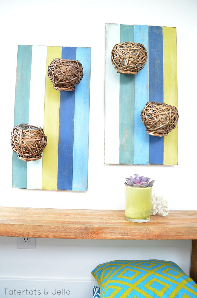 submerged color wood slat wall sconce artword DIY