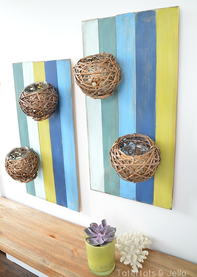Spectacular submerged color wood slat wall sconces DIY tutorial