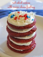 Patriotic Red Velvet Cookies with Cream Cheese Frosting