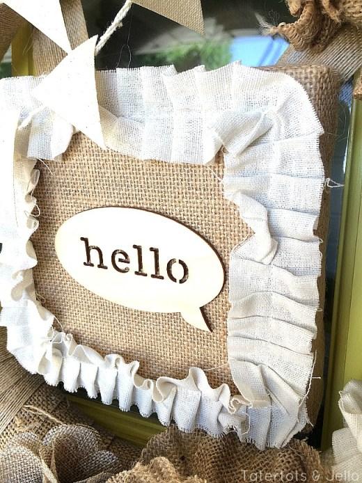 hello burlap frame element of summer wreath