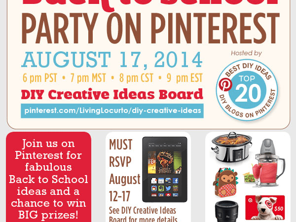 Back To School Pinterest Party This Sunday: Win Awesome Prizes!