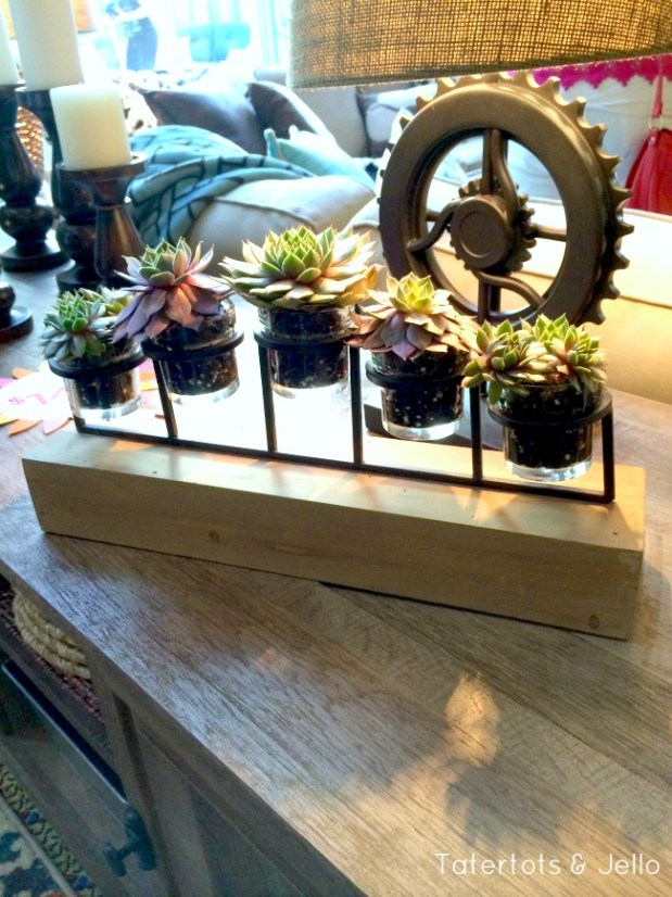 succulents in candle holder idea