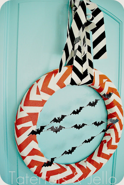 halloween chevron bat wreath