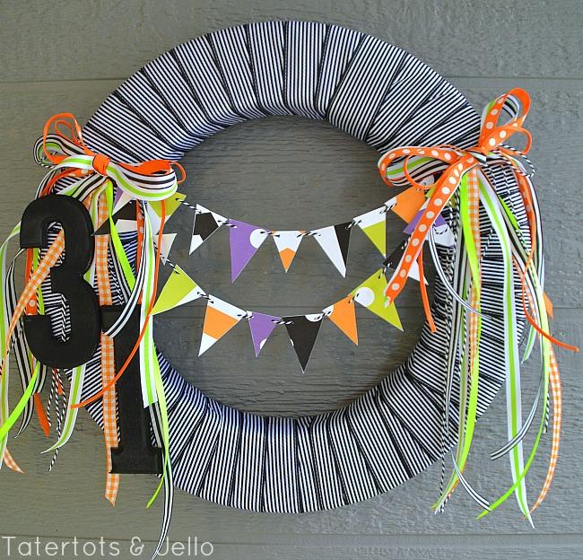 printable bunting wreath halloween at tatertots and jello
