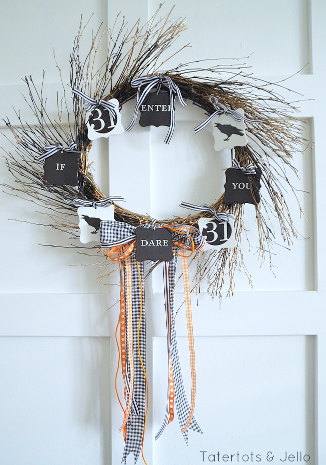 enter if you dare halloween wreath and free printables tatertots and jello