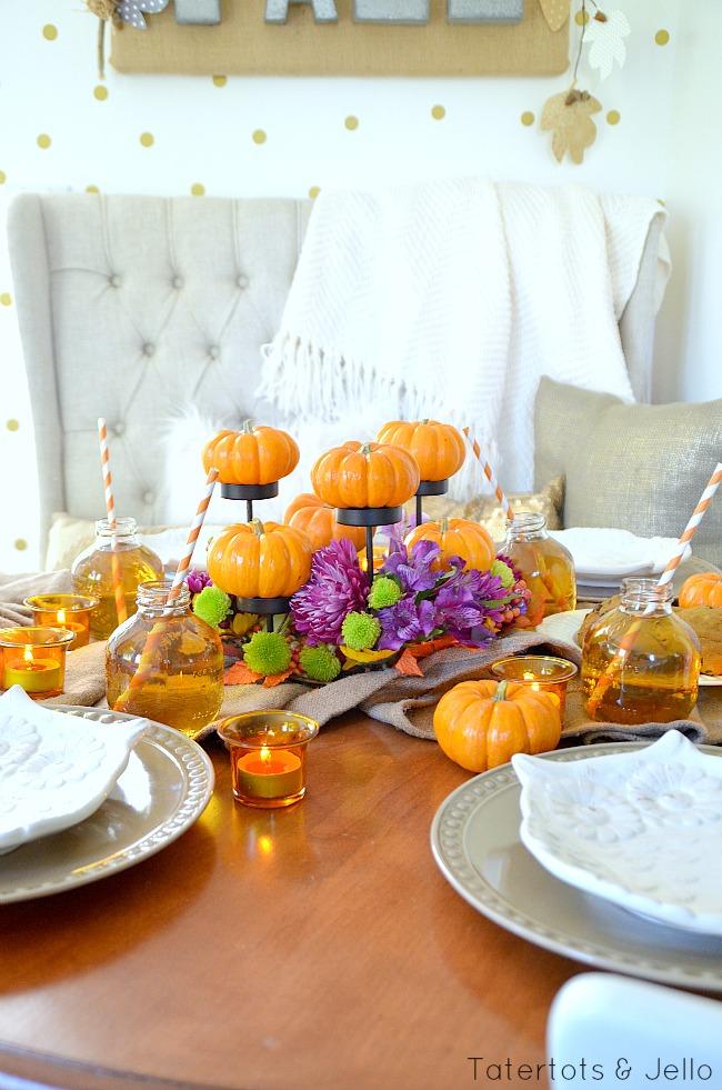 fall pumpkin centerpiece idea at tatertots and jello