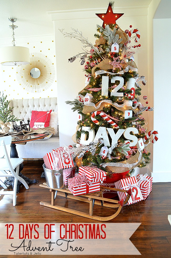 12 days of christmas advent tree at tatertots and jello - 12 Days Of Christmas Decorations