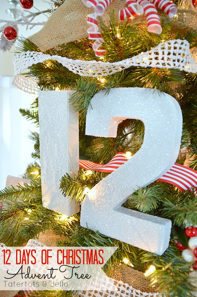 12 days of christmas advent tree tutorial at tatertots and jello - 12 Days Of Christmas Decorations