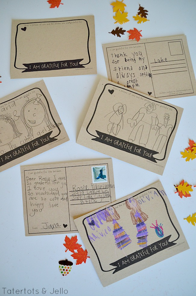 kids gratitude postcards at tatertots and jello