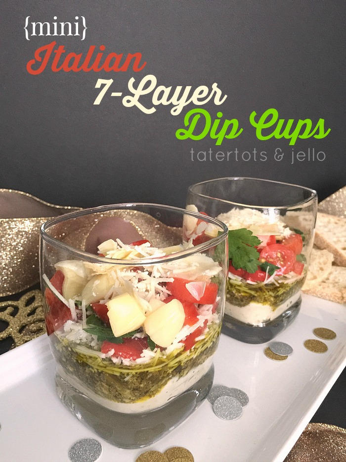 Italian 7-layer cup appetizers