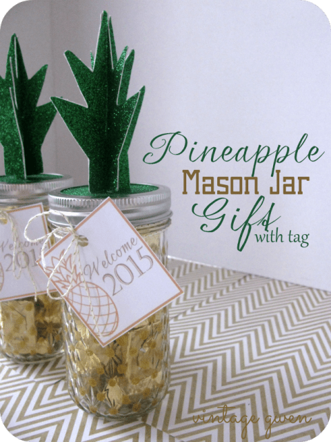 HAPPY Holidays Pineapple Mason Jar Gift with Free Printable Tag  Tatertots and Jello