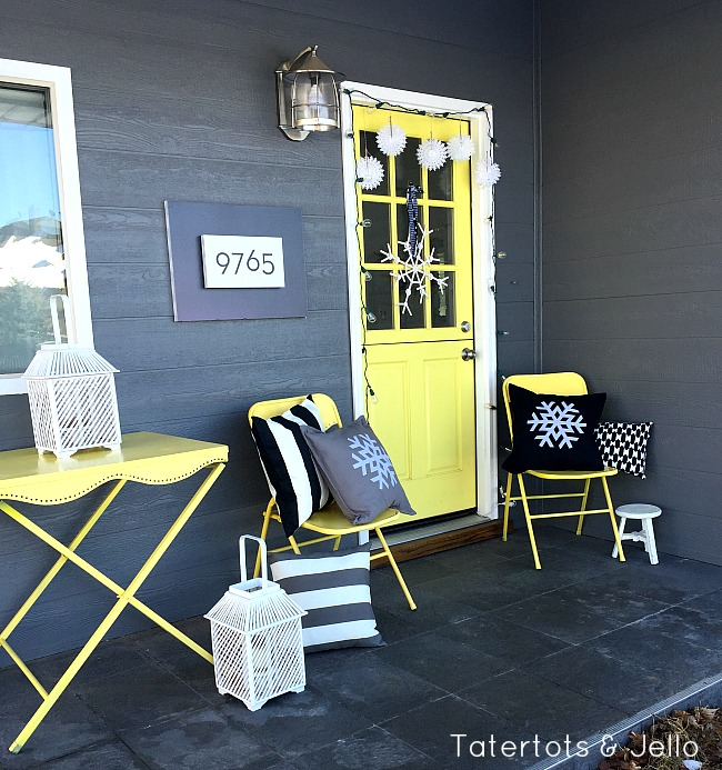black and white snowflake porch
