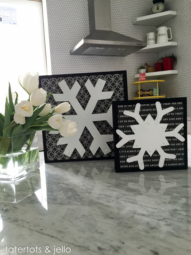 black and white snowflakes