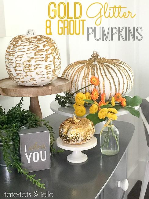 gold glitter pumpkins