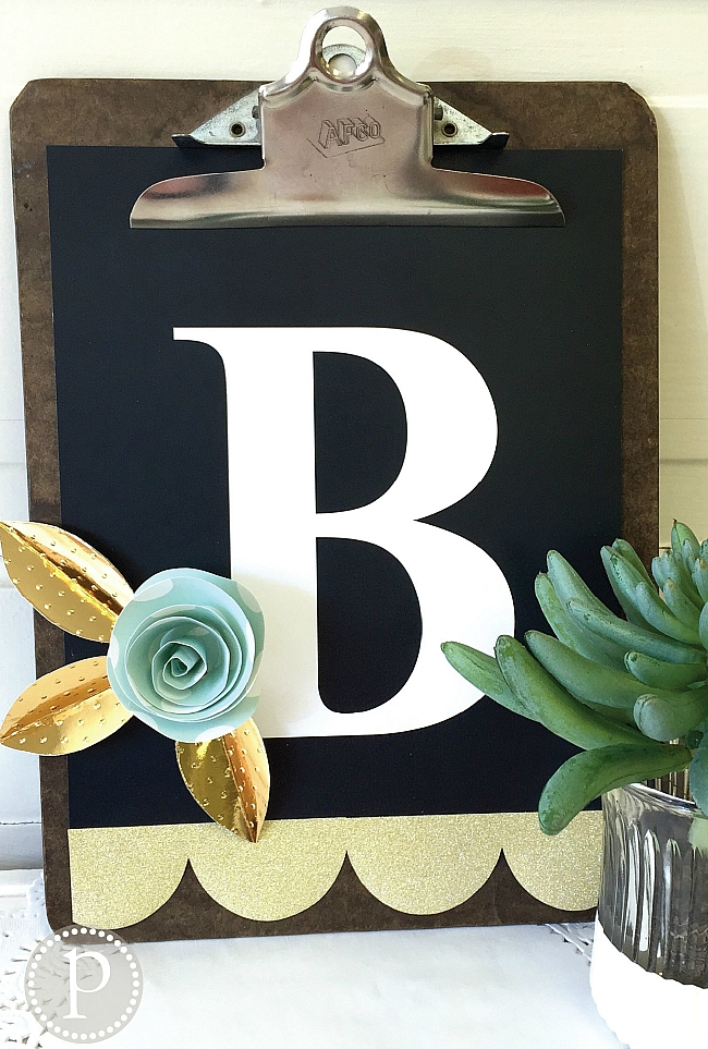 monogram with three dimensional paper flower tutorial