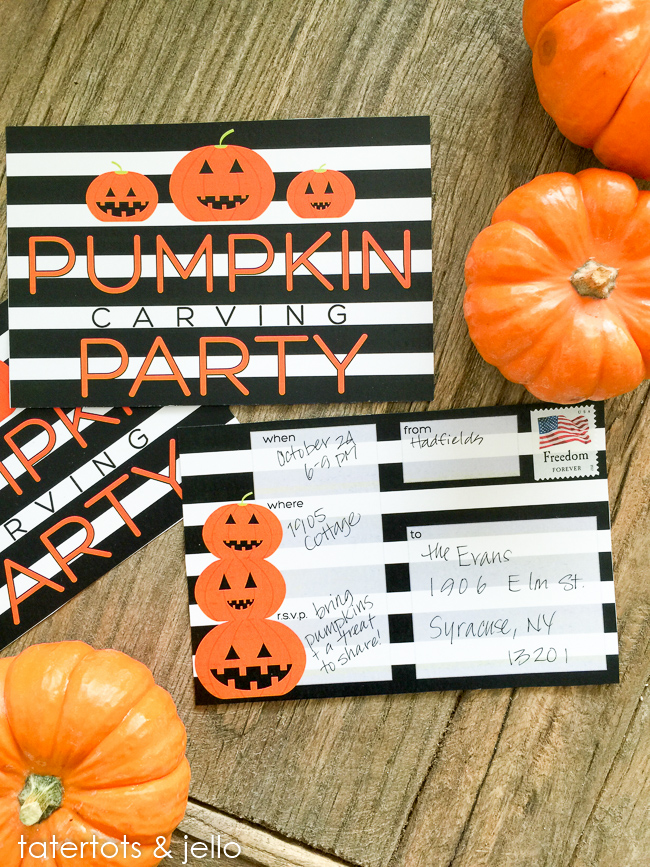 Halloween Pumpkin Carving Party Invitations. Free printables.