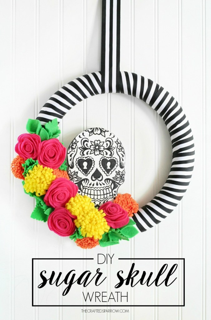 DIY Sugar Skull Wreath #halloweenwreath #dayofthedead #halloweendecor