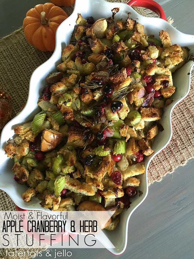 Apple Cranberry Herb Stuffing Thanksgiving