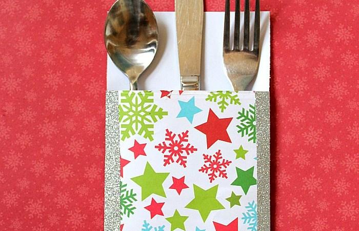 Happy Holidays: Glitter Tape Utensil Holders