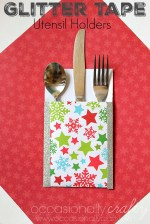 Happy Holidays: Glitter Tape Utensil Holders