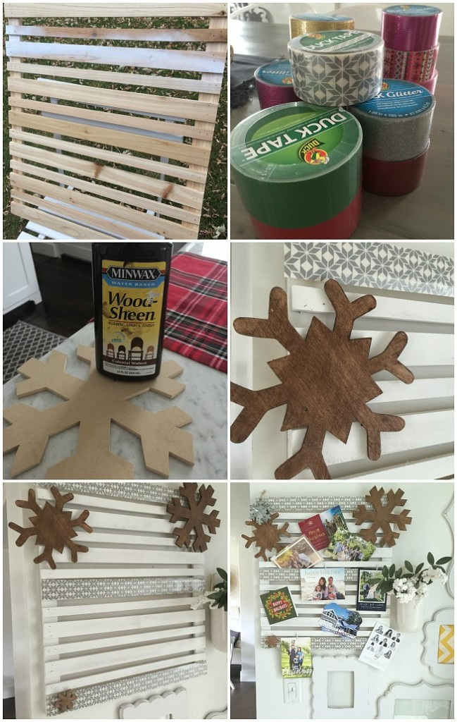How to make a snowflake pallet holiday card display