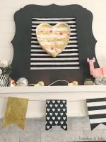 Black, White and Gold Valentine's Day Mantel