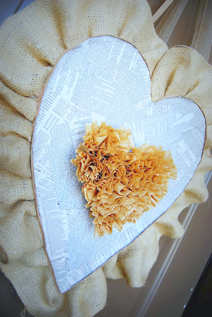 Burlap and coffee filter valentine